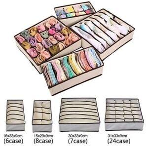 Foldable-Organizer-Drawer-Storage-Box-Case-Closet-For-Bra-Ties-Underwear-Socks