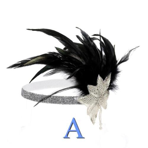 1920s Headband Vintage Bridal Gatsby 20s Flapper Feather Headpiece Silver Gold
