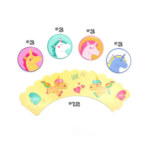 Licorne 12x wrappers 12x Toppers Enfants Party Supplies Cupcake Décoration UK