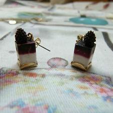 Les Nereides N2 fantasy blackberry cheesecake gold plated stud earrings