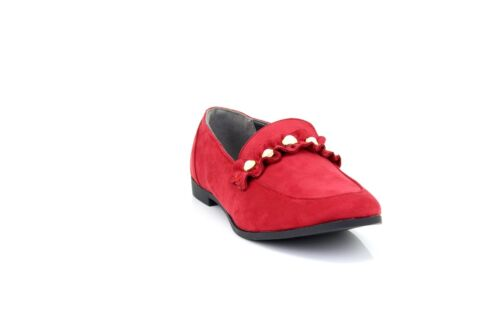Ladies Truffle Collection Red Velvet Pearl Embellished Loafers