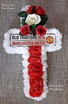 Manchester United Calcio Artificiale Ghirlanda Fiori Funerale Tributo Tomba Cross-mostra Il Titolo Originale Rinvigorire Efficacemente La Salute