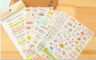 6sheets cute cat students transparent PVC diary books calendar album stickers