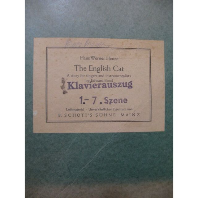 HENZE Hans Werner The English Cat Chant Piano ca1984 partition sheet music score