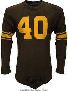buy popular c5cc9 3252e Details about 1951 George Hughes Game Worn Pittsburgh Steelers Jersey  Repairs Heritage LOA