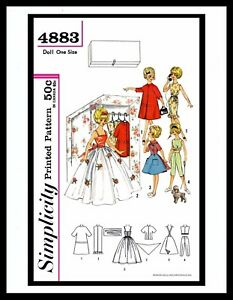 """Simplicity 4883 TAMMY 12/"""" Vintage Fashion DOLL Fabric Sewing Pattern Barbie 60/'s"""