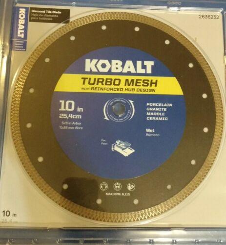"Kobalt 10/"" inch  Tile Diamond Saw Blade w// Turbo mesh reinforced hub #2636232"