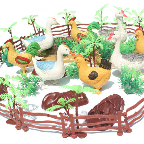 55 pcs Wild Forest Farm Animal Figures Poultry Duck Chicken Models Fence Toy
