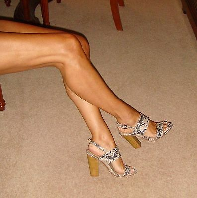 Shoes by George Size 4,Strappy Grey/Beige Snake-Print Sandals/Wooden Block Heels
