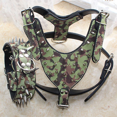 Camouflage Leather Spiked Studded Dog Collar Harness Set Pitbull Husky Terrier