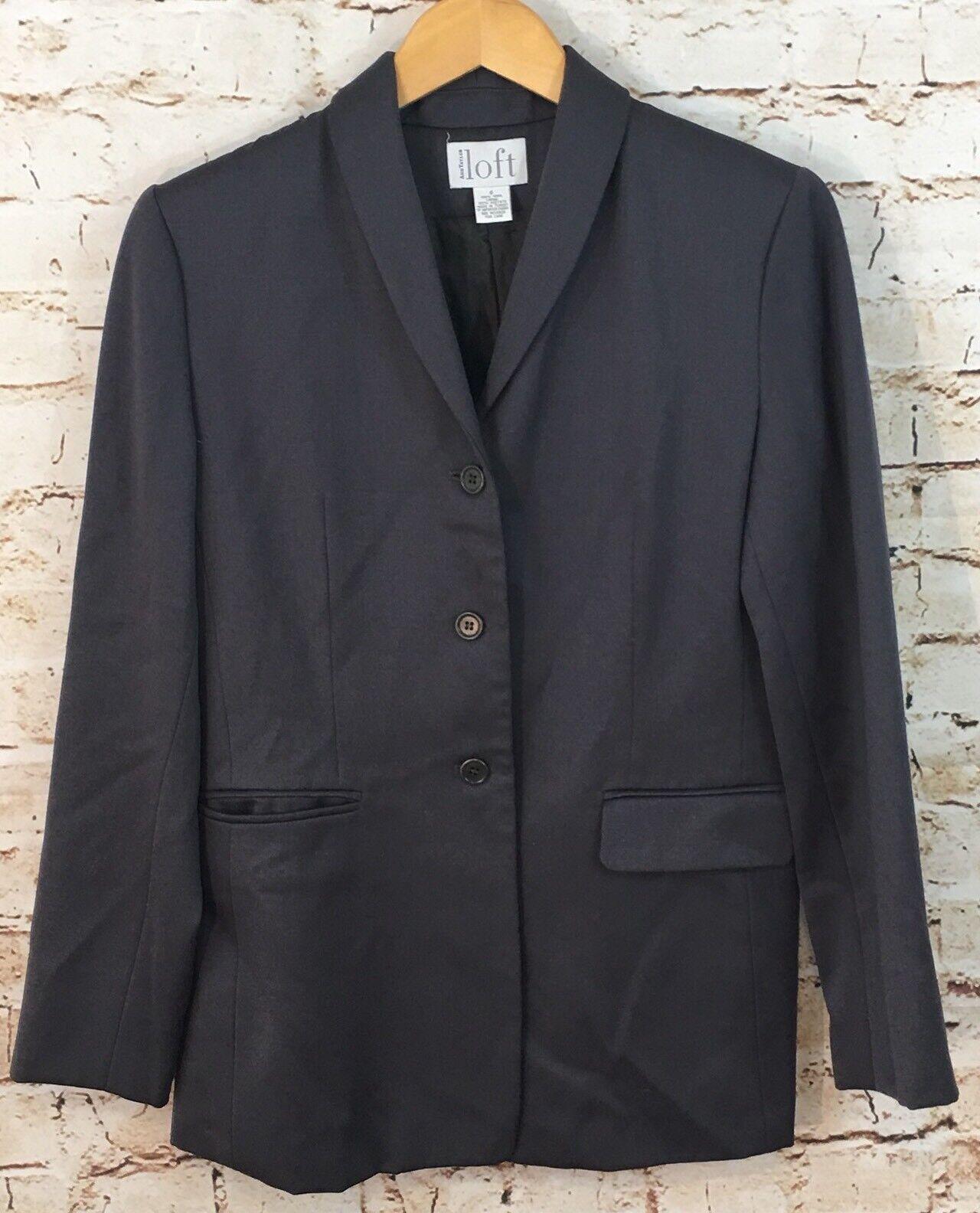 Ann Taylor LOFT blazer womens 6 gray 100% wool 3 button suit jacket B1