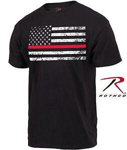 1bb177b9 Black Thin Red Line Firefighters Tee Shirt - Mens Short Sleeve ...