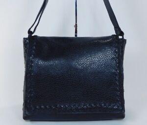 Image is loading Authentic-Bottega-Veneta-Black-Leather-Messenger-Crossbody -Travel- a6cfa46f45