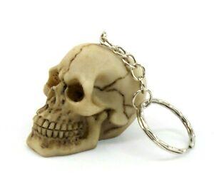 1PC Skull Head Keychain Ring 3D Skeleton Head Brown Bone Biker Head Death Skulls