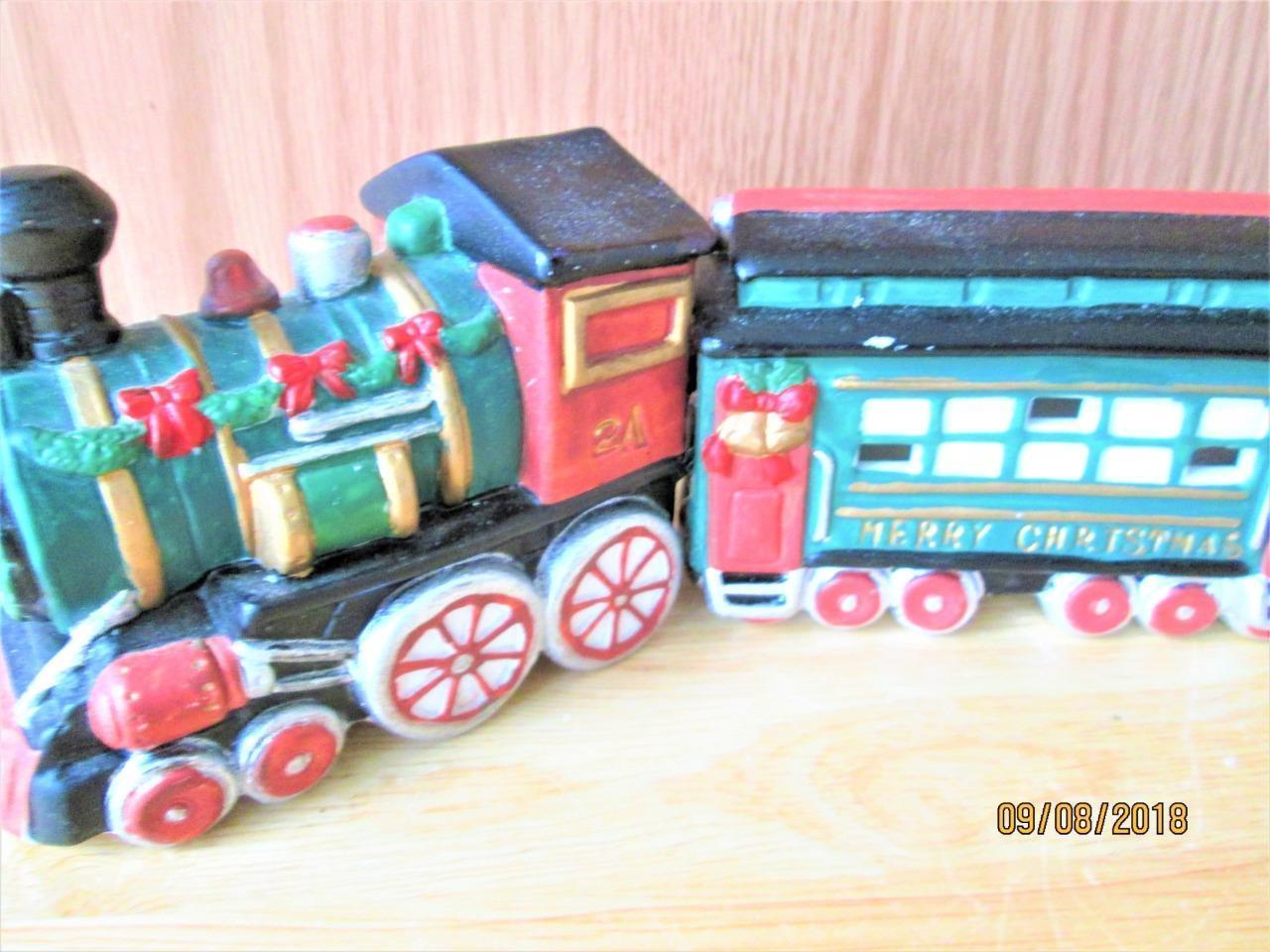 3 Piece Hand Painted Porcelain Christmas Village Train Set In Box Ebay