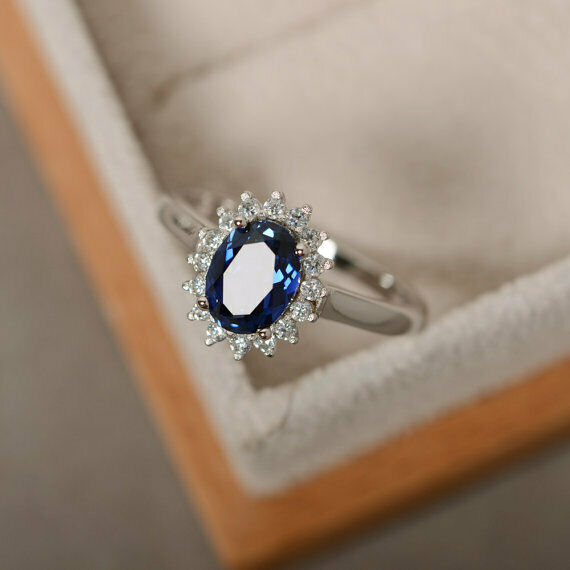 1.80 Ct blueee Sapphire Engagement Ring 14K White gold Genuine Diamond Size 5 5.5
