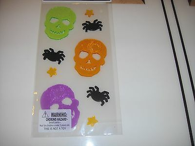 New Halloween Window Gel Stickers Cling Decor Skeleton  Spiders Stars