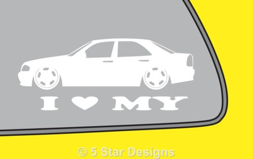 2x LOVE LOW Mercedes C Class W202 sticker with amg monoblock wheels LR142