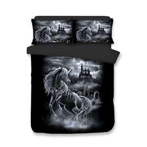 3D-Unicorn-Black-Bedding-Set-Duvet-Cover-Pillowcase-Comforter-Cover-Quilt-Cover