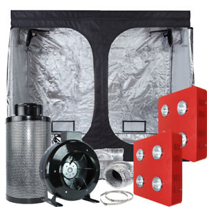 Image is loading TopoLite-Grow-Tent-Kit-2x-LED-800W-8- & TopoLite Grow Tent Kit 2x LED 800W+ 8