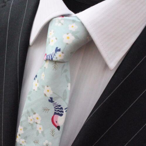 Tie Neck tie Slim Blue with Bird Design Quality Cotton T6201