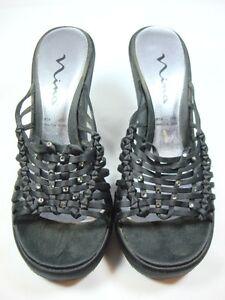 Nina-Black-satin-slides-chain-design-with-rhinestones-sz-8-5-Heel-4-5-034