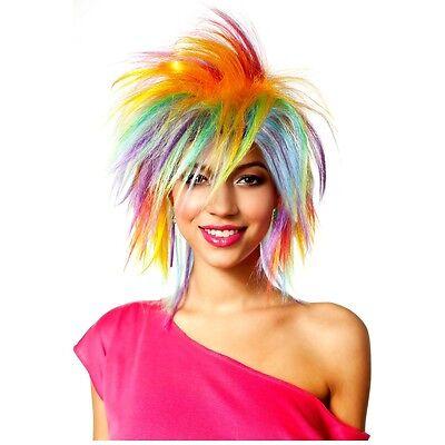 Rainbow Wig Adult Womens 80s Halloween Costume Fancy Dress