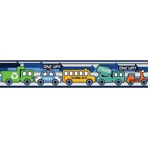 Details about TRANSPORTATION wallpaper border 15' peel stick police car  truck school bus taxi