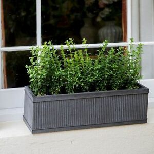 Image Is Loading Vence Stylish Galvanised Metal Window Box Flower Herb
