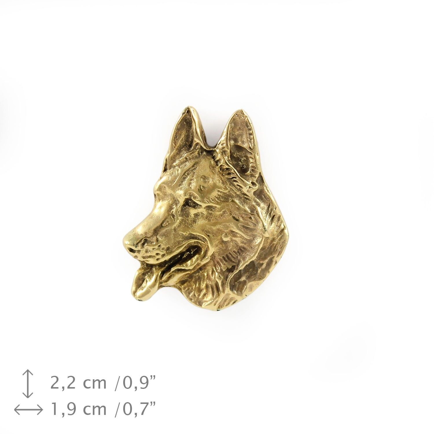 German Shepherd type 2 - dog, gold covered pin with dog, high quality, Art Dog