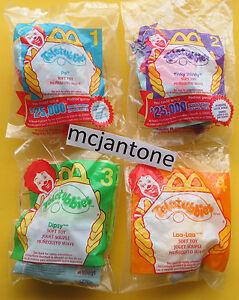 MIP-SET-4-McDonald-039-s-2000-TELETUBBIES-Purple-GREEN-Red-Plush-Clip-On-TELETUBBY