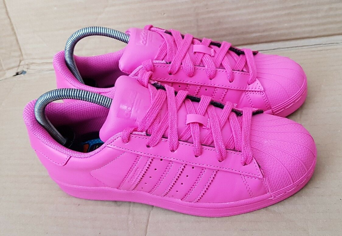 ADIDAS SUPERSTAR PHARRELL WILLIAMS SUPERCouleurS TRAINERS Taille 5 UK rose EXCELLENT