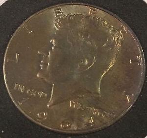 Details about 1964 Blue/Red Natural Toned Kennedy Half Dollar 50C Black  Gasket