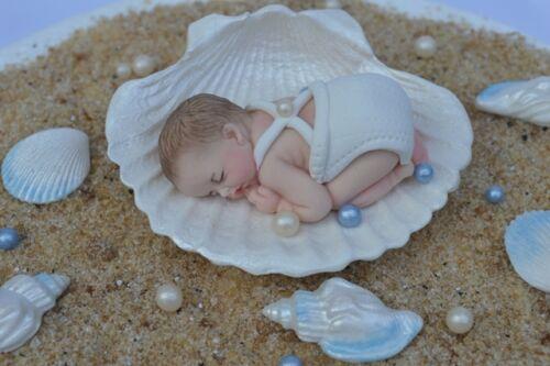 Comestibles bébé garçon /& sea shell baptême personnalisé Baptême décoration gâteau