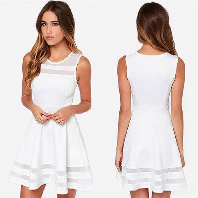 Women Summer Casual Splice Sleeveless Party Evening Short Mini Dress Elegant
