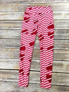Lularoe Womens One Size Leggings Pink White Stripe Red Heart
