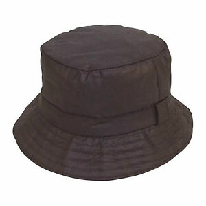 Unisex Adult Quality Black Waxed Cotton Boonie Bush Wax Bucket Hat ... f9dac21163f