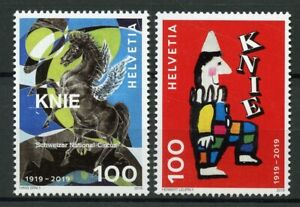 Suisse-2019-neuf-sans-charniere-National-Suisse-Cirque-Knie-2-V-Set-clowns-timbres