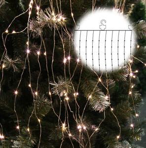 LED-Vorhang-Drahtlichterkette-100-LED-s-1-x-1-m-Draht-silber-inkl-Haken