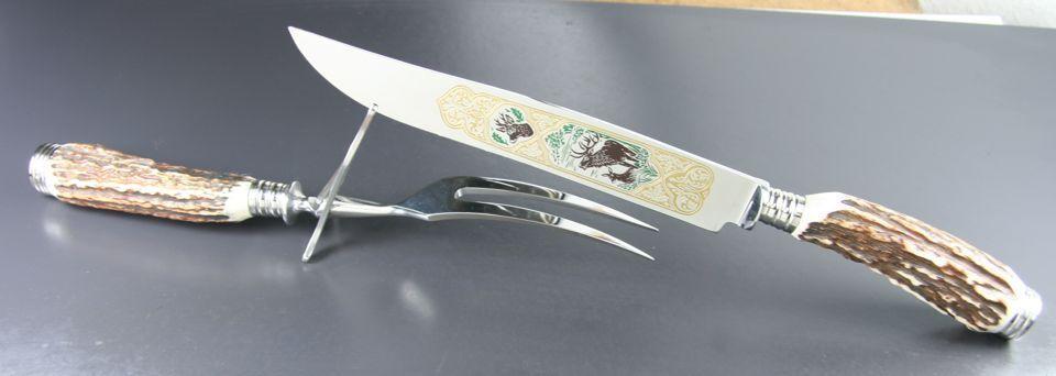 Classique HUBERTUS carving set KNIFE & FORK W. Scène de Chasse gravure Stag  NOUVEAU