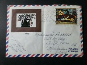 POLYNESIE 1972 POSTE AERIENNE 65 LETTRE de TAHITI, TABLEAU BOVY ART PAINTING, VF
