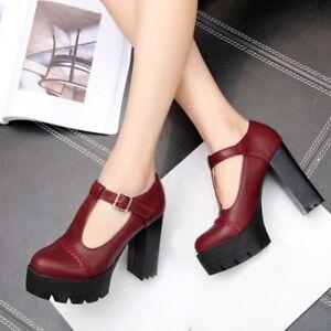 Women-Retro-Brogue-Pumps-Block-High-Heel-T-Strap-Bars-Court-Work-Shoes-Plus-Size