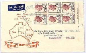 BM8 1951 Australia *PLATE BLOCK FDC* Illustrated Typed First Day Cover Glos PTS