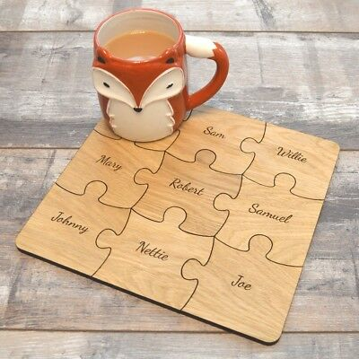 Jigsaw Coaster Set Personalised Wooden Engraved Coasters The Perfect Gift Ebay