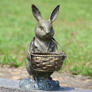 Genial Image Is Loading Bunny Rabbit Basket Planter Garden Statue Butler Metal