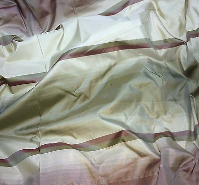 "MARCOVALDO ELENA STRIPE BROWN 100/% SILK TAFFETA DRAPERY FABRIC BY THE YARD 54/""W"