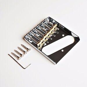 new tele telecaster vintage ashtray bridge with 6 individual brass saddles ebay. Black Bedroom Furniture Sets. Home Design Ideas