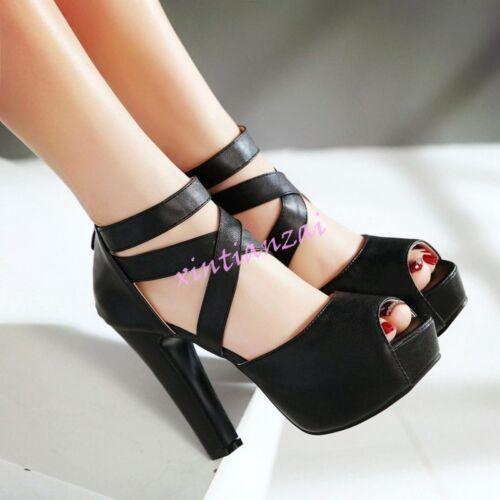 Lady/'s PeepToe Platform Strap Cross High Heels Dress Sandals Shoes All Size Hot