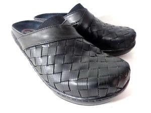 KLOGS-Monica-US-8-5M-Black-Woven-Leather-Platform-Clog-Shoes