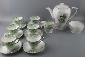 Shelley-039-Green-Blossom-039-Tea-Coffee-set-in-the-rare-Perth-Shape